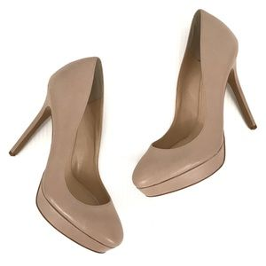 Vince Camuto Niomi Nude Leather Platform Heels 7.5